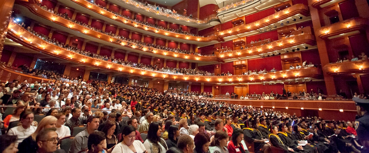 The audience seated inside NJPAC during a convocation ceremony
