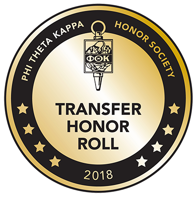 Seal for the Transfer Honor Roll 2018 from Phi Theta Kappa Honor Society. It's a circle with 8 stars along its edge and the Phi Theta Kappa logo